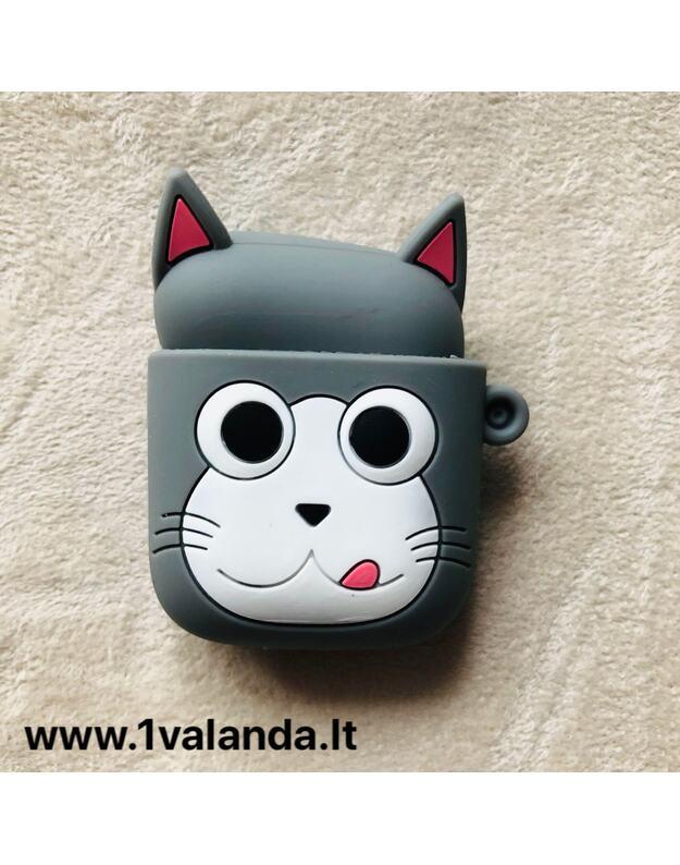 Silikoninis dėklas Airpods ausinėms (kačiukas)